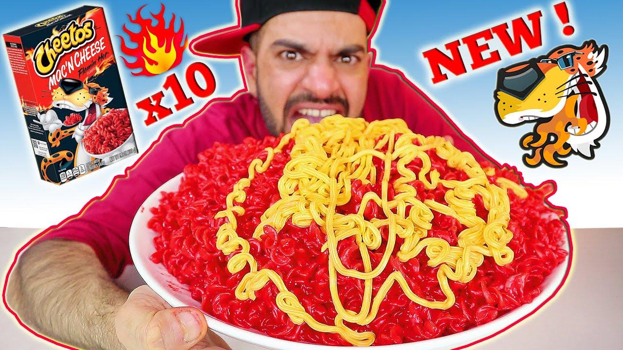 تحدي معكرونة تشيتوس الجديدة الحارة بالجبنة - ۱۰ صناديق ! Cheetos Flamin' Hot Mac N' Cheese x10 Boxes