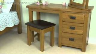 Rustic Solid Oak 3 Drawer Dressing Table, Stool And Mirror Set From Oak Furniture Land
