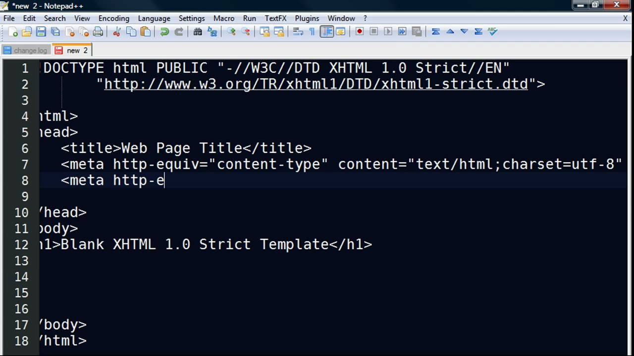 Using Notepad++ to Create an XHTML 1.0 Strict Template - YouTube