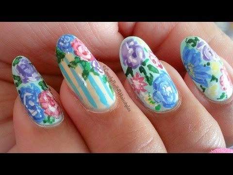 shabby chic vintage floral nails