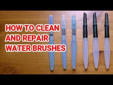 How to Clean, Repair and Restore Water Brushes - Pentel Aquash - Derwent Water brushes