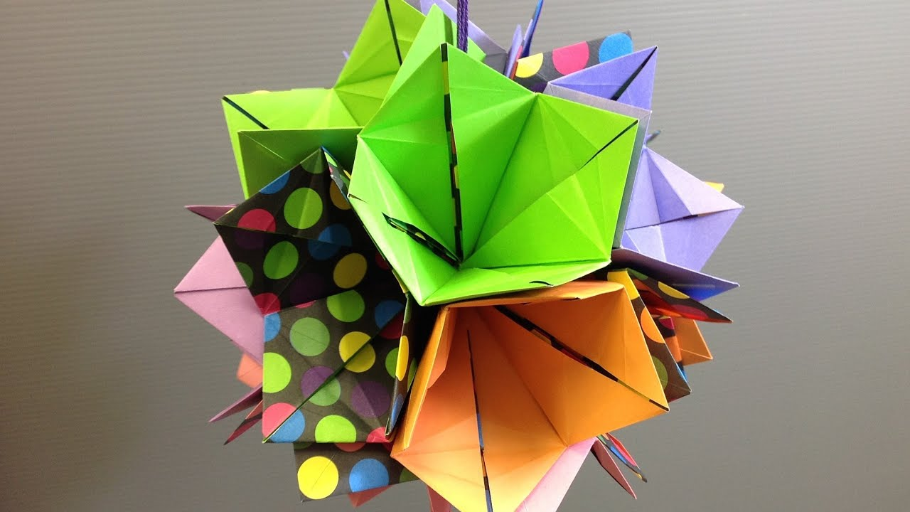 Make a colorful origami bell flower kusudama youtube dhlflorist Images