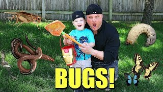 Caleb and Daddy Play and Hunt for Bugs OUTSIDE! Caleb Pretend Play