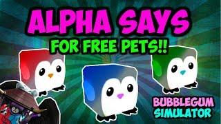 ALPHA SAYS!! WINNER GETS FREE PETS!! (Bubble Gum Simulator Roblox)