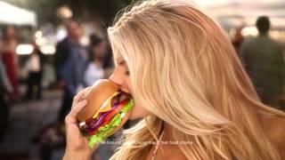charlotte mckinney carls jr ad commercial super bowl xlix 2015 the all natural burger
