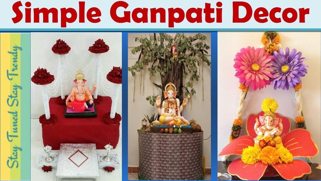 Simple/Easy Ganpati Decoration Ideas For Home | 2018 | Ganpati Decor |  #Ganeshchaturthi