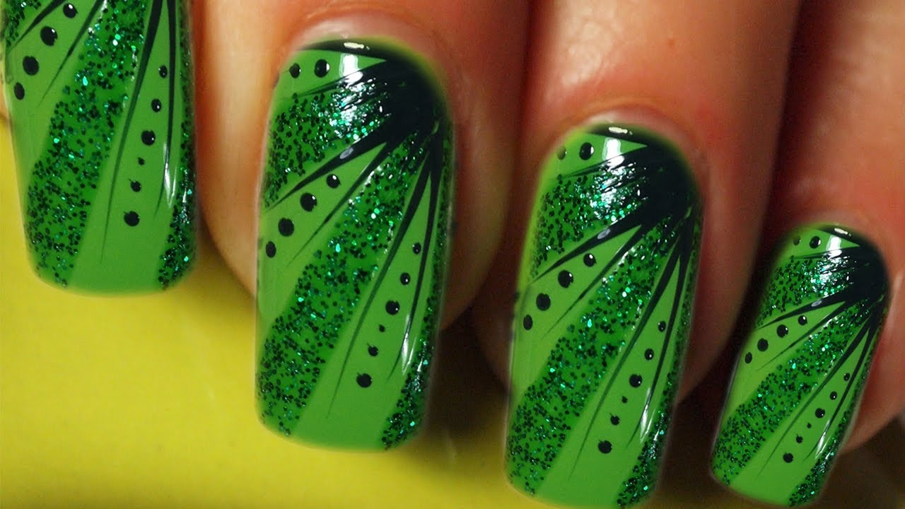 Full Cover Nail Art Design Tutorial In Grn Green Stripes Dots