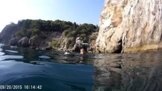 Прыжки в воду со скал. Экстрим. Sergey Novikov. Go Pro. Крым 20 сентября 2015
