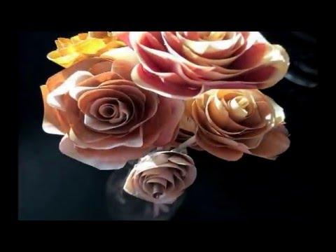 Wooden roses tutorial.  FarmCraft101 Valentines flowers DIY idea.