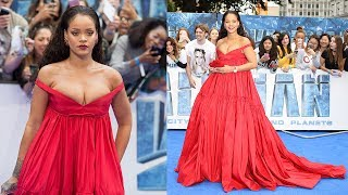Rihanna WOWS In Red Gown On Valerian Carpet & Nearly Breaks Internet