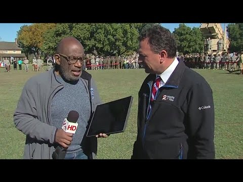 Al Roker and Brett Anthony doing weather forecast during Rokerthon in Lawton, Oklahoma
