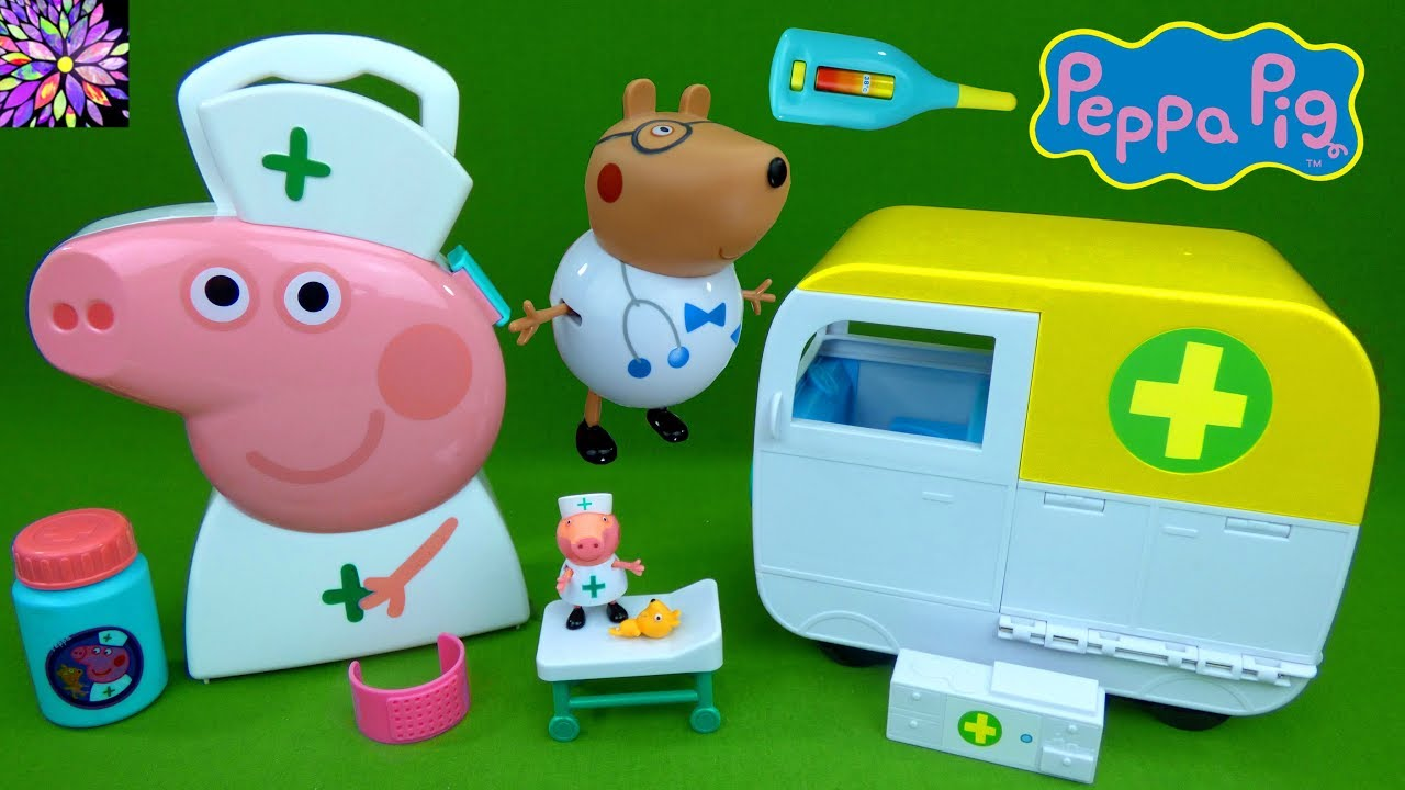 Nurse Peppa Pig Toys Medical Center Hosptial Van Doctor Tools Case Teddy  Bear Toy Review