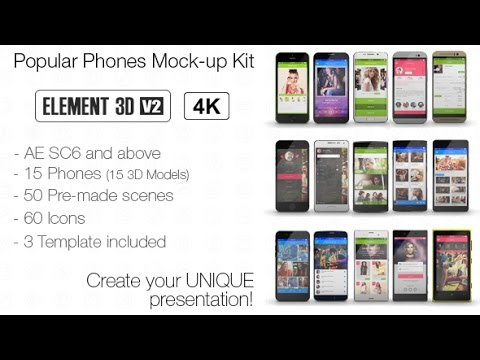 popular phones mock-up kit | after effects template - youtube, Presentation templates