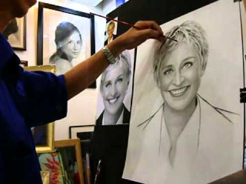 Left & right handed artist make a charcoal portrait for Ellen DeGeneres,manila Philippines part 6