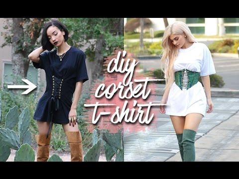 "DIY | Corset T-shirt ""Lace-up Waist"" (EASY!)"