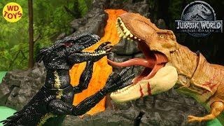 New Jurassic World Tyrannosaurus Rex & Monolophosaurus Battle Damage Fallen Kingdom Walmart WD Toys