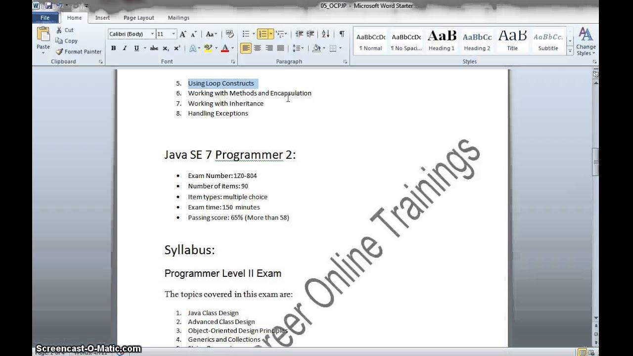 Java Certificationoracle Certified Java Programmeroracle Certified
