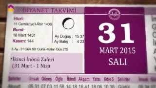 31 Mart 2015 Salı Günü Diyanet Takvimi - TRT DİYANET 2017 Video