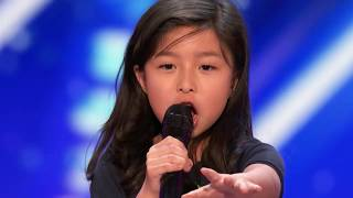 AMERICA&#39S GOT TALENT 2017 - CELINE TAM 9 YEAR OLD STUNTS CROWD WITH &quotMY HEART WILL GO ON&quot