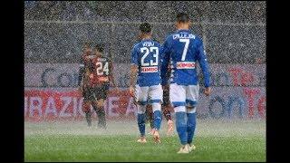 Forte pioggia allo stadio del Genoa durante la partita Genoa vs Napoli 1-2