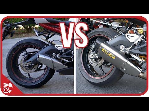Stock Exhaust vs Arrow slip-on    Triumph Daytona r