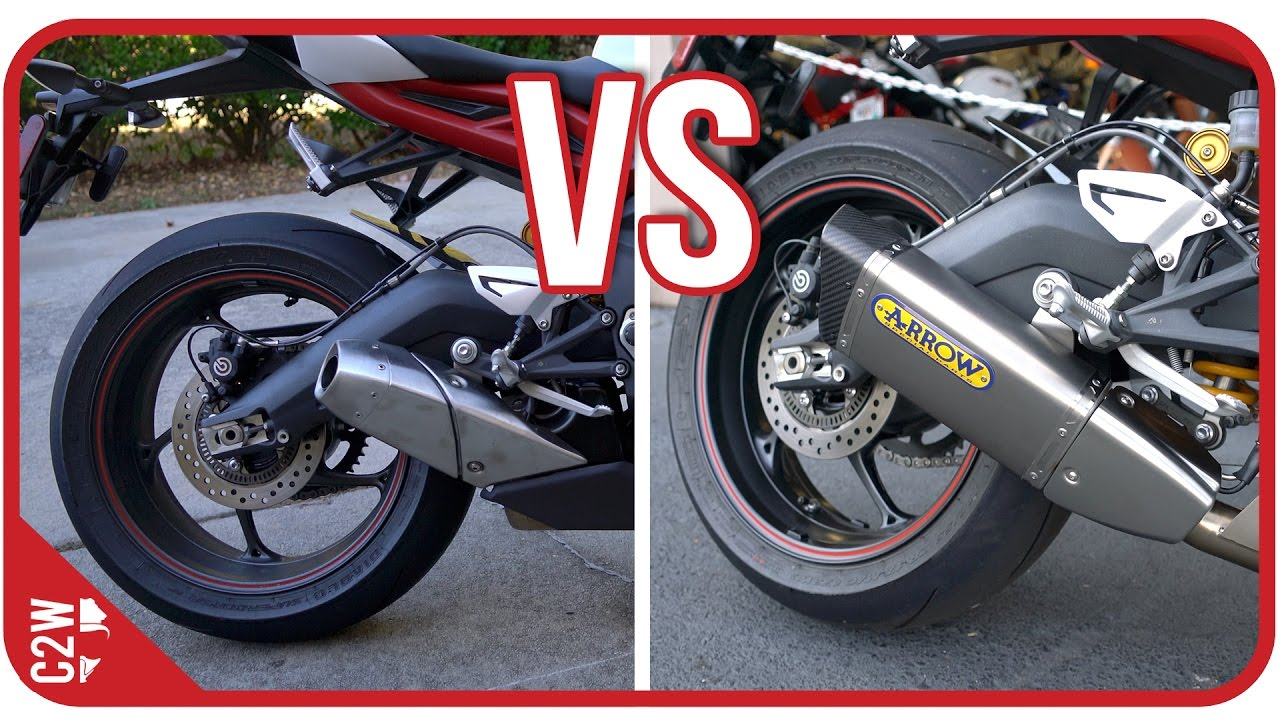 Stock Exhaust Vs Arrow Slip On 2016 Triumph Daytona 675r Youtube