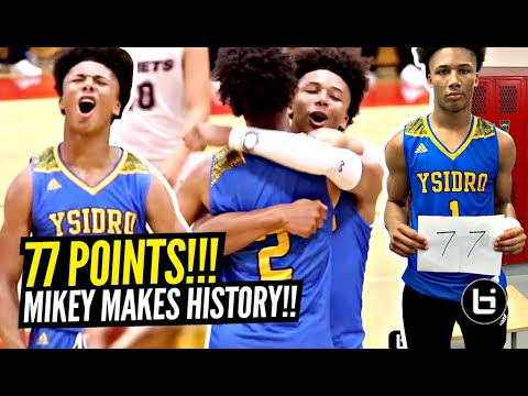 Mikey Williams Scores 77 POINTS!!! BREAKS CALIFORNIA RECORD & Makes HISTORY!! Youngest PLAYER EVER! - Ballislife