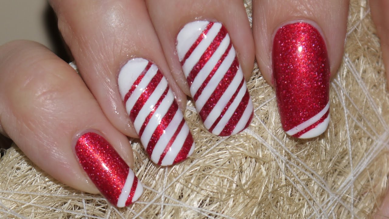 easy candy cane nail art youtube