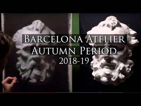 Barcelona Atelier Autumn period, course 2018-19 - School of Art - Draws, paints, and sculpture work.