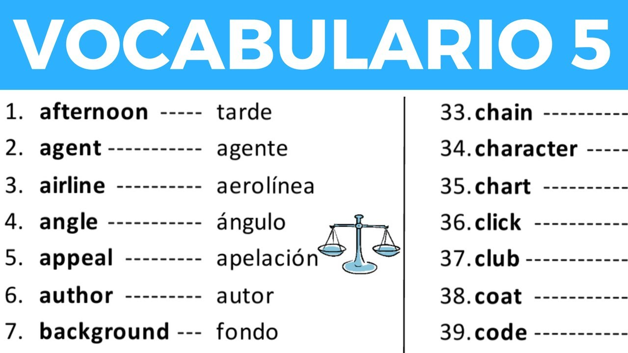 Vocabulario en inglés con pronunciación lección 5 de 8 ...