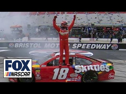 Kyle Busch holds off Kyle Larson for second straight win | 2018 BRISTOL | FOX NASCAR
