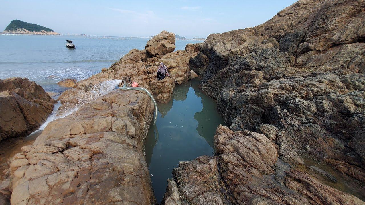 台风刚过水坑里的海鲜真让人眼馋,小明迫不及待跳进水中生擒大鱼