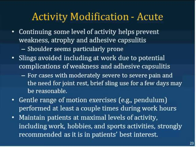 ACOEM Webinar - Evidence-based Treatment: Shoulder