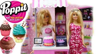 POPPIT CLAY CUP CAKES, BARBIE BAKERY OWNER PLAY SET, POPPIT CLAY SET, BARBIE CAKES AND CUP CAKES,