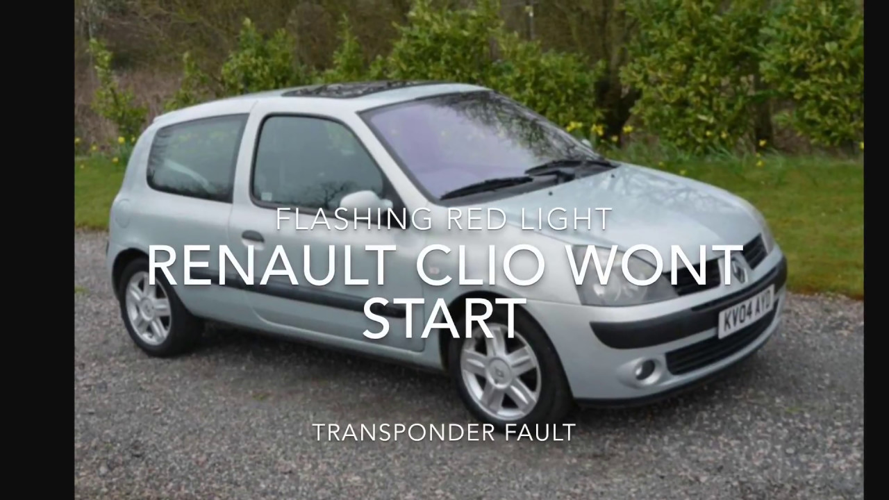 hight resolution of renault clio won t start flashing red light transponder fault fix repair reset
