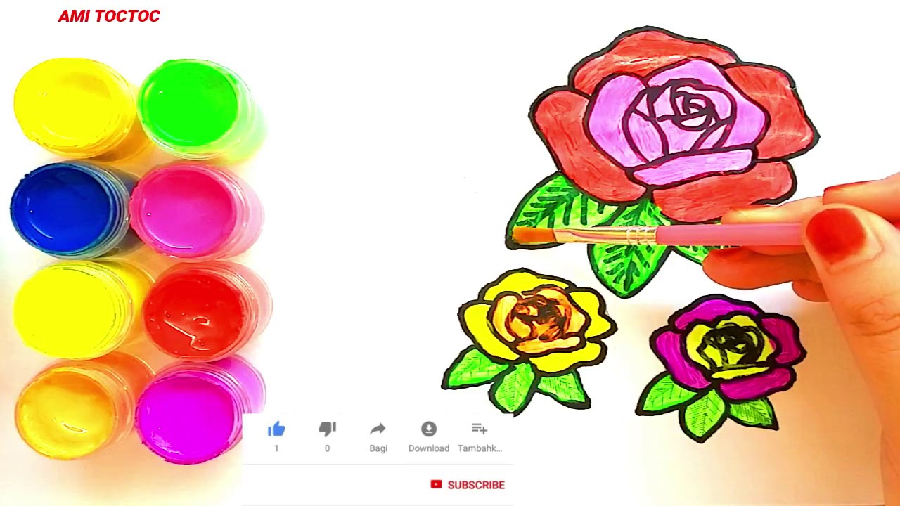 Craft Glitter 3 Roses Coloring And Drawing Learn Colors