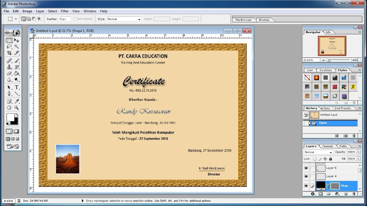 photoshop tutorials how to make your own certificate in photoshop