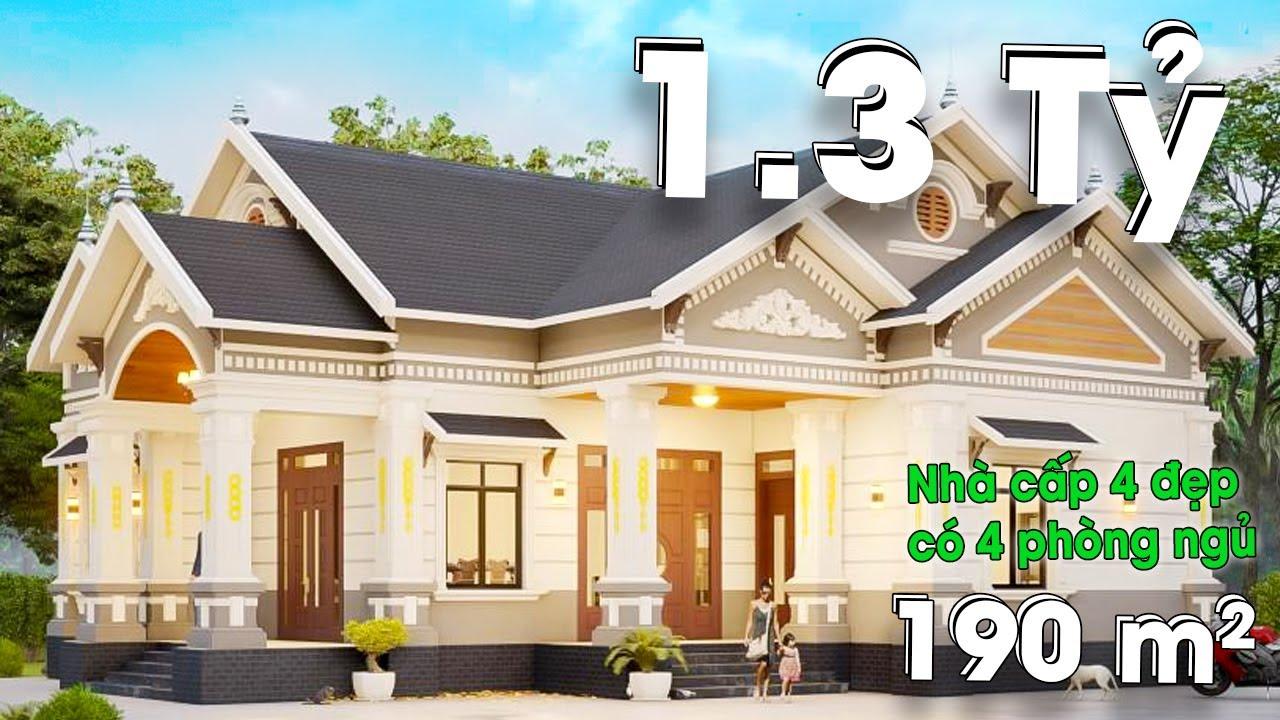 Mẫu Nhà Cấp 4 Đẹp 190m2 Với 4 Phòng Ngủ Cực Bắt Mắt Tại Tứ Kỳ Hải Dương