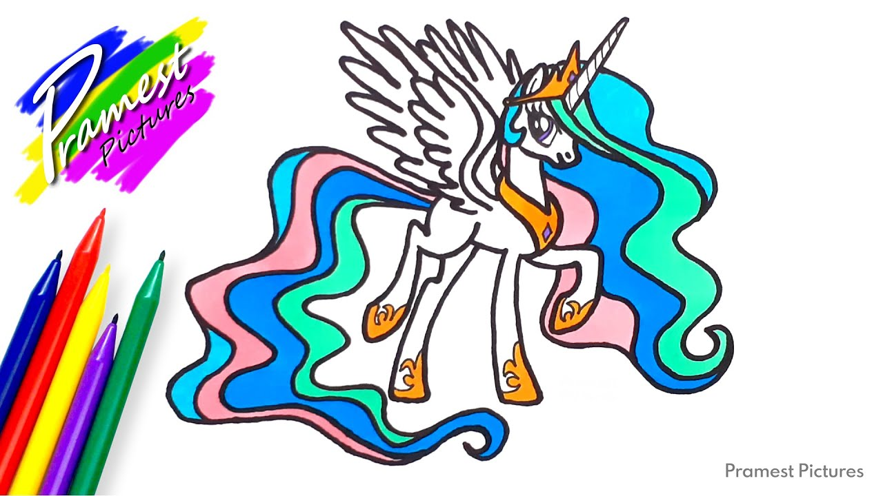 How To Draw Princess Celestia My Little Pony Coloring For Kids
