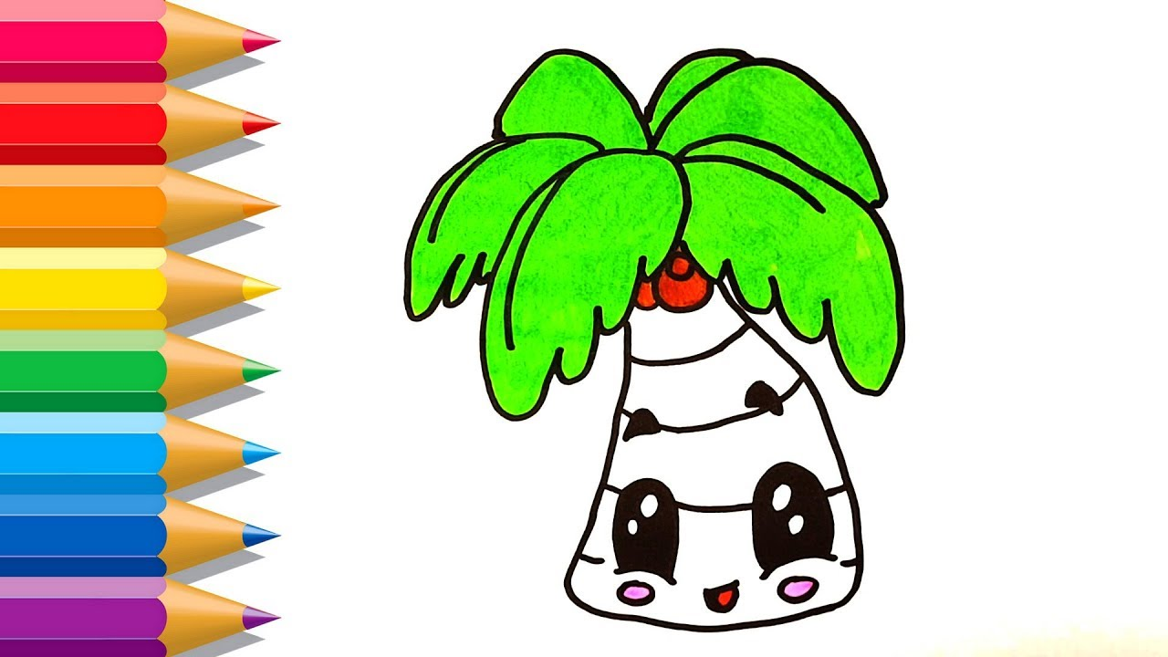 How to Draw Beach Palm Tree Easy | Beach Palm Tree Coloring Pages ...