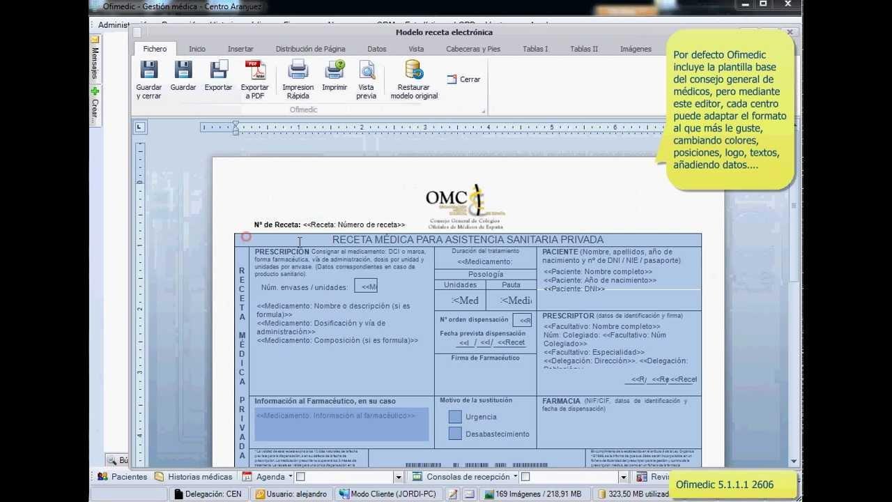Ofimedic 5.1.1.1 Configurar plantilla receta electrónica XML 2606 ...