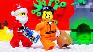 Lego Unlucky Santa Claus Robbery Stop Motion  - Robber Attack