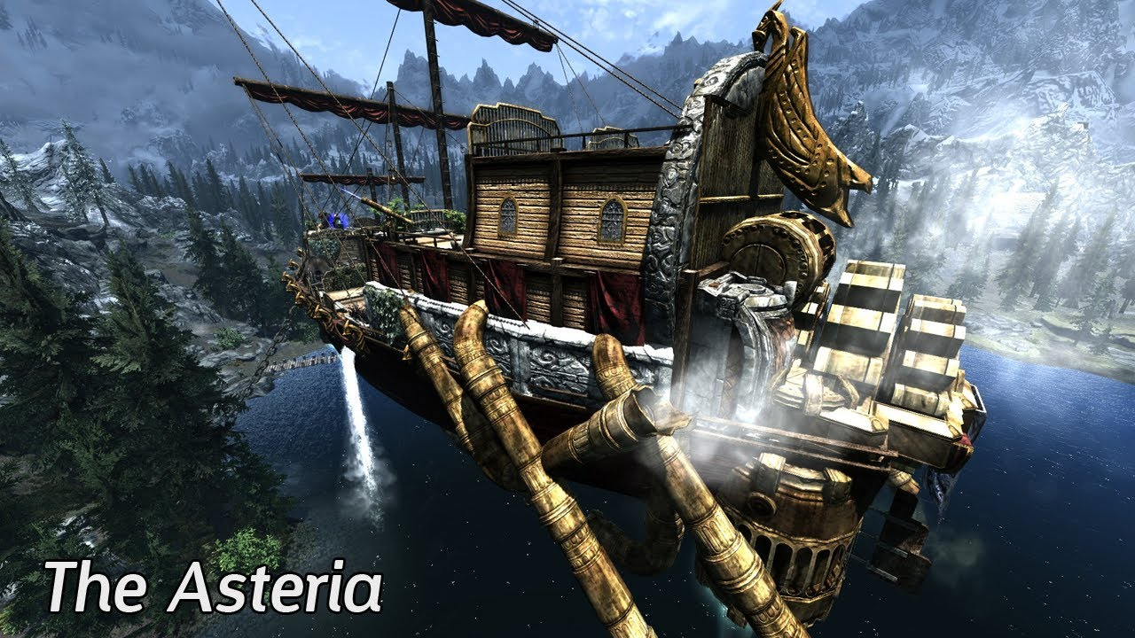 Skyrim mods the asteria dwemer airship youtube for Best house designs skyrim