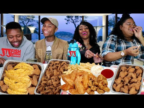 JJ Fish & Chicken Mukbang Family Style With Cathy (Subscriber)