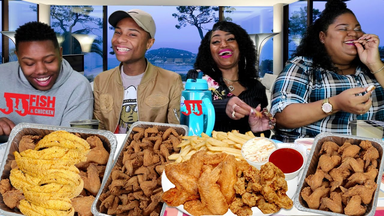 Jj fish chicken mukbang family style with cathy for Jjs fish and chicken