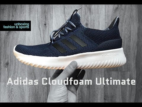 adidas-cloudfoam-ultimate-'navy/core-black'-|-unboxing-&-on-feet-|-fashion-shoes-|-2018-|-4k