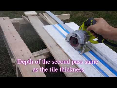 "Hand-Held tile saw for large tile. Ryobi 4"" Tile Saw."