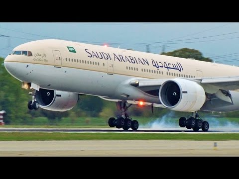 [FullHD] Saudi Arabian Boeing 777-200(ER) landing & takeoff at Geneva/GVA/LSGG