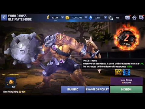 Marvel Future Fight- 3.0 Update - Ultimate World Boss Mode - First Look - Phase 1-3