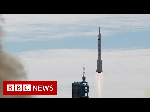 China launches first crew to new space station - BBC News